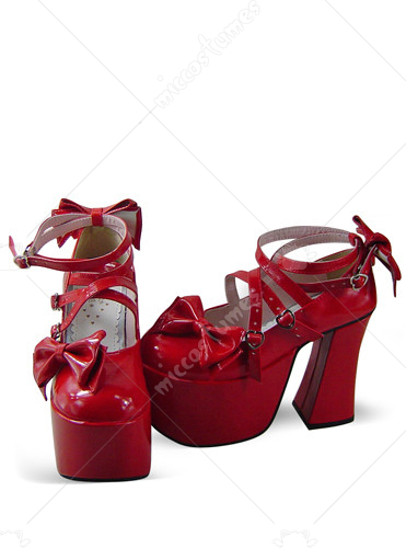 Red Oblate Toe Strapped Thick Heel Platform Leather Pump