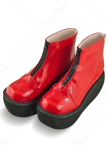Red Oblate Toe Zipper Platform Leather Boots