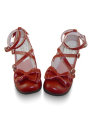 Red Thick Heel Ankle Wraps Round Toe Leather Pump