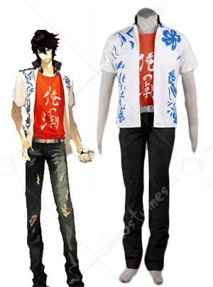 Red and White Scared Rider XechS Music Team Cosplay Costume