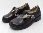 Round Toe Buckled Vamp Leather Japanese School Shoes