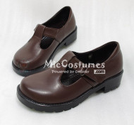 Round Toe Buckled Vamp PU Japanese School Shoes