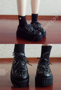 Gothic Punk Dark Harajuku Style Women Girls Round Toe Uniform Shoes Platform Low Ankle Dress Shoes Buckle Lace Up Faux Leather Fashion Footwear