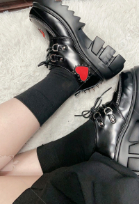 Gothic Lolita Dark Harajuku Style Girls Retro School Uniform Shoes Women Platform Chunky Leather Dress Shoes Lace Up Heart Ornament Footwear
