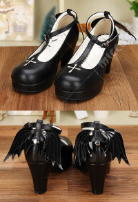 Gothic Lolita Wings and Cross Black Round Toe T-Strap Platform Shoes Princess Lolita Shoes