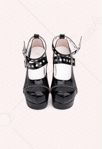 Dark Gothic Lolita Shoes High Heeled Round Toe Pumps Punk Double Belt Zipper Queen Shoes