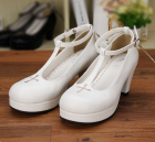 Gothic Lolita Wings and Cross White Round Toe T-Strap Platform Shoes Princess Lolita Shoes