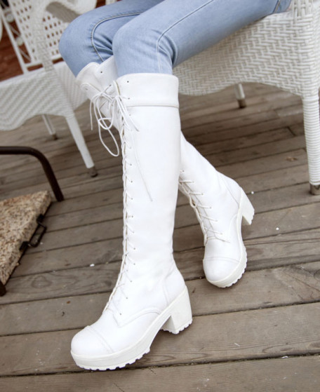Street Fighter Chun Li White Boots Shoes Cosplay