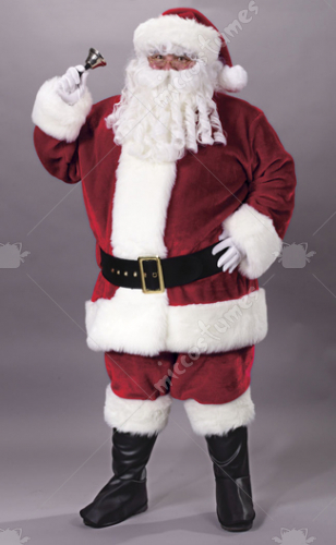 Santa Suit Plush Crimson Adult Costume