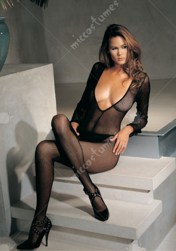 Seamless Fishnet V Front Long Sleeves Bodystocking