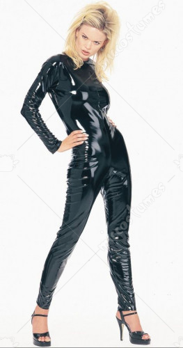 Sexy KittySuit Leatherlike Black Adulit Costume