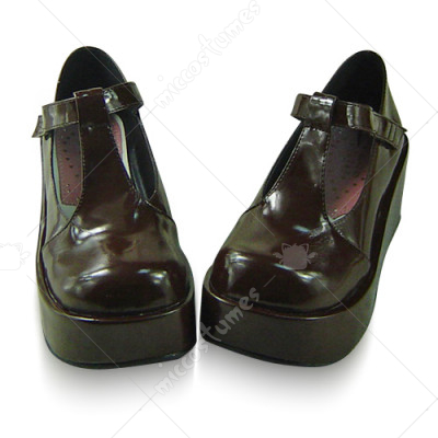 Shiny Coffee Platform Lolita Shoes