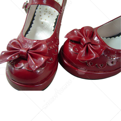 Shiny Red Bowknot Lace Platform Lolita Shoes