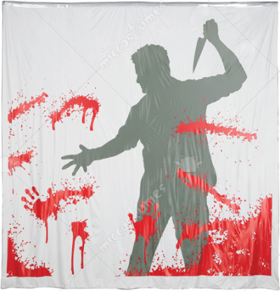 Shower Curtain Man with Knife