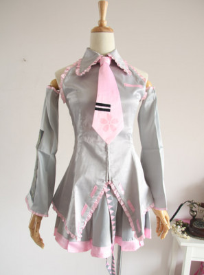 Silver Vocaloid Sakura Miku Cosplay Costume