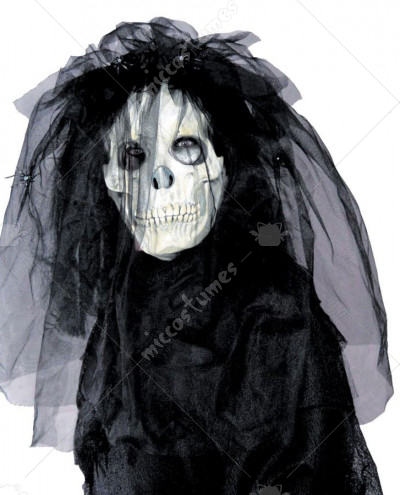 Skull Bride Mask With Hair