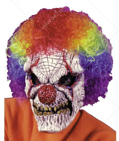 Skull Clown Mask W Wig