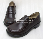 Square Toe Half Vamp Leather Japanese School Shoes