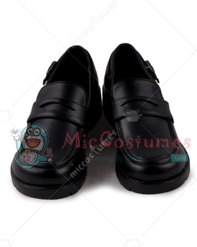 Square Toe With Buckled Heel Strap Leather Japanese School Shoes