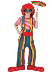 Striped Clown Overalls Child Costume