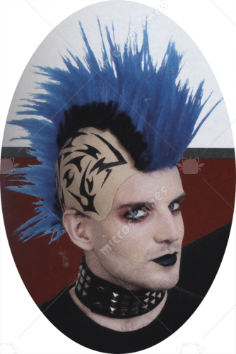 Tattooed Mohawk Blue Wig