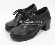 Thick Middle Heels Round Toe Front Tie Japanese School Shoes