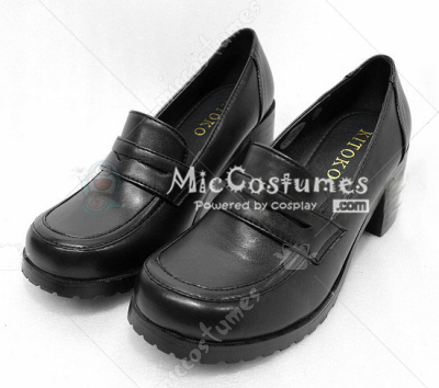 Thick Middle Heels Square Toe Half Wrapped Vamp Japanese School