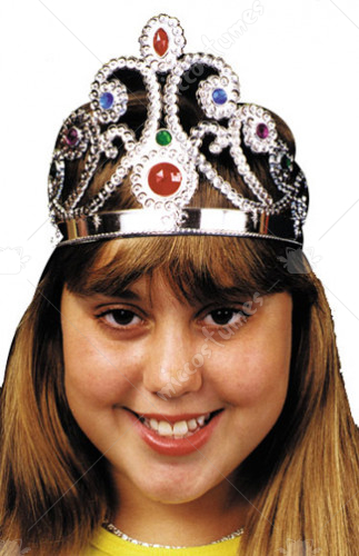 Tiara Silver Jeweled Plastic