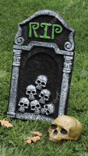 Tombstone 21Inch RIP With Skulls