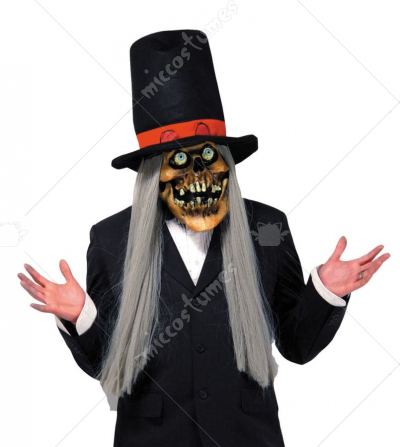Top Hat Skull Mask With Hat and Hair