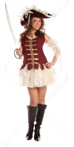 Treasure Lady Pirate Adult Costume With Hat