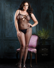 V Back Fishnet Bodystocking with Lace Up Back