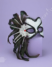 Venetian Couple Mask Wt/Bk