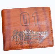 Vocaloid Miku Bifold Leather Wallet Brown