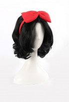 Miss Snow Black Curly Short Cosplay Wig with Red Bow Headband for Halloween