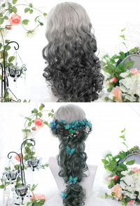 Halloween Lolita Gradient Cosplay Wig Harajuku Dyeing Green Wool Curls with Medium Distribution Hairstyle Long Wavy Curly Wig