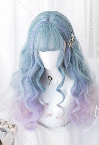 Halloween Lolita Gradient Cosplay Wig Harajuku Dyeing Dream Blue and Purple Mixed Color Long Wavy Curly Wig