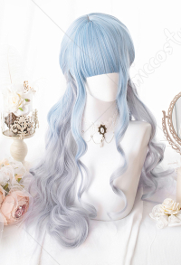 Halloween Lolita Gradient Cosplay Wig Harajuku Dyeing Dream Sky Blue Mixed Color Long Wavy Curly Wig