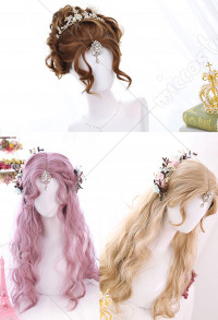Halloween Lolita Gradient Cosplay Wig Harajuku Pink Mixed Color Long Wave Curly Wig for Party