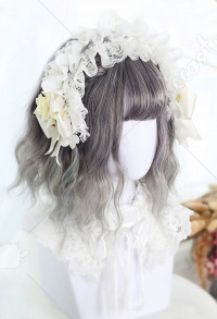 Halloween Lolita Gradient Cosplay Wig Harajuku Dyeing Gray Mixed Color Short Wavy Curly Wig with Dumplings