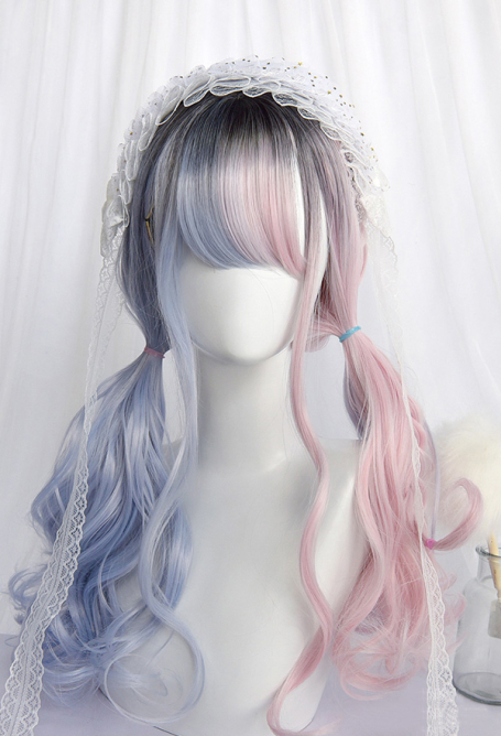 Halloween Lolita Gradient Cosplay Wig Harajuku Dyeing Dream Pink and Blue Mixed Color Double Ponytails Wavy Curly Wig