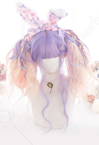 Halloween Lolita Gradient Cosplay Wig Dyeing Dream Unicorn Purple and Pink Mixed Color Long Wavy Curly Wig
