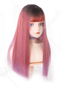 Halloween Gradient Cosplay Wig Harajuku Rose Red Mixed Color Wig for Halloween and Party