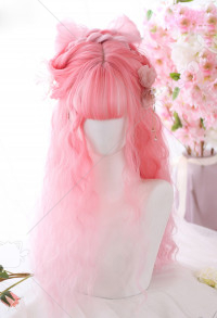 Halloween Lolita Gradient Cosplay Wig Harajuku Dyeing Pink Sheep Roll Long Wavy Curly Wig