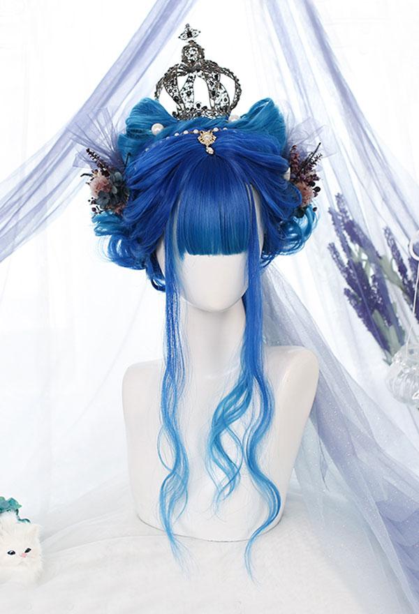 Lolita Gradient Mischfarbe Unregelmäßige Lockige Harajuku Cospaly Perücke mit Pony