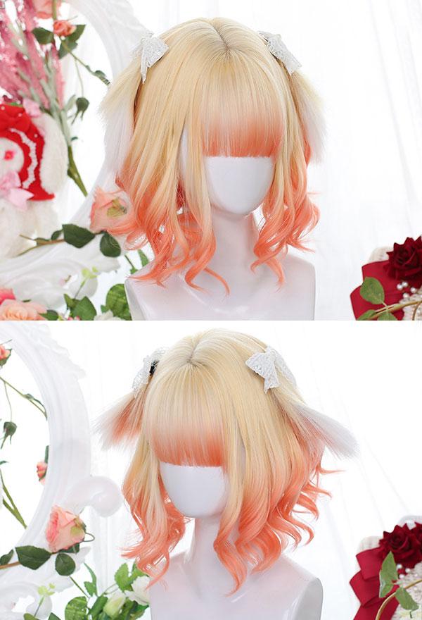 Lolita Gradient Mischfarbe Kurze Leichte Locken Harajuku Cospaly Perücke mit Hasen Ohren