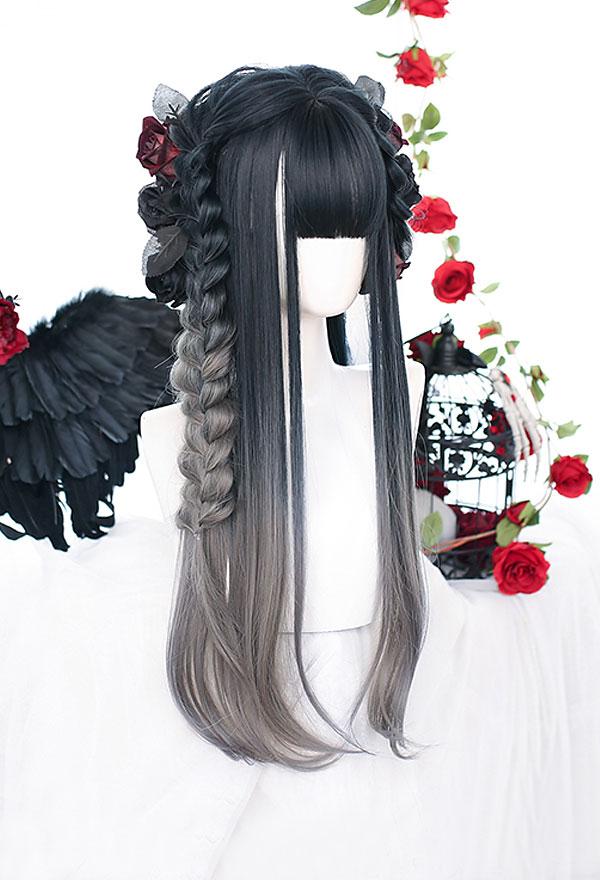 Lolita Gradient Mischfarbe Lange Leichte Locken Harajuku Cospaly Perücke mit Pony