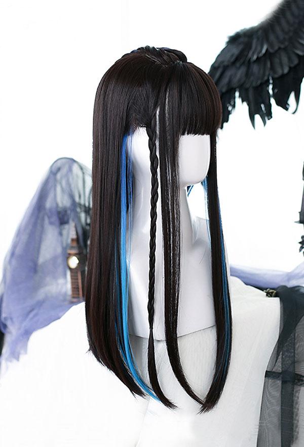 Lolita Gradient Mischfarbe Lange Glatte Braun Schwarze Harajuku Cospaly Perücke mit Pony