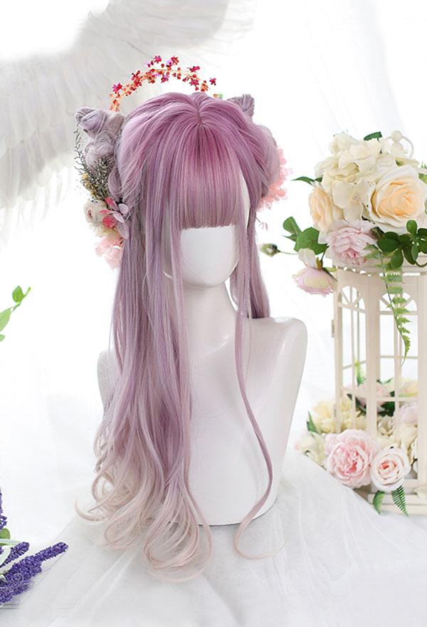 Lolita Gradient Mischfarbe Lockige Harajuku Cospaly Perücke mit Gefärbt Oberseite