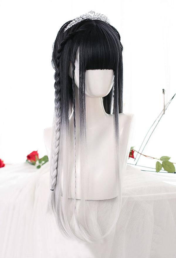 Lolita Gradient Mischfarbe Lange Glatte Harajuku Cospaly Perücke mit Pony